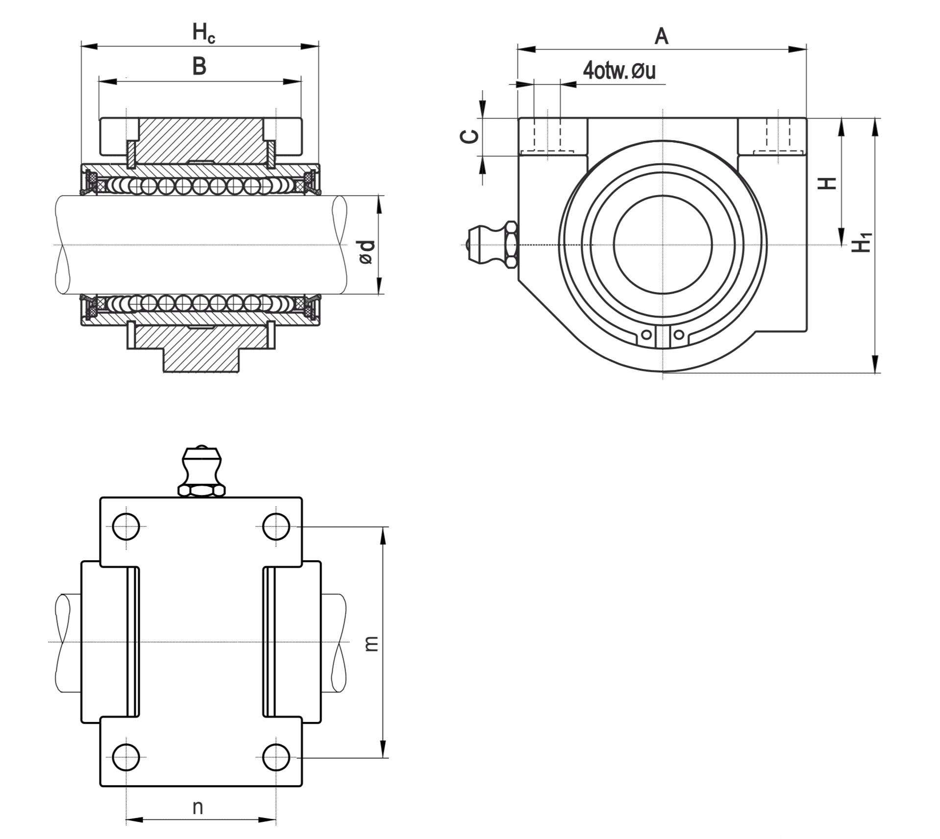 Linear guides in PT housing